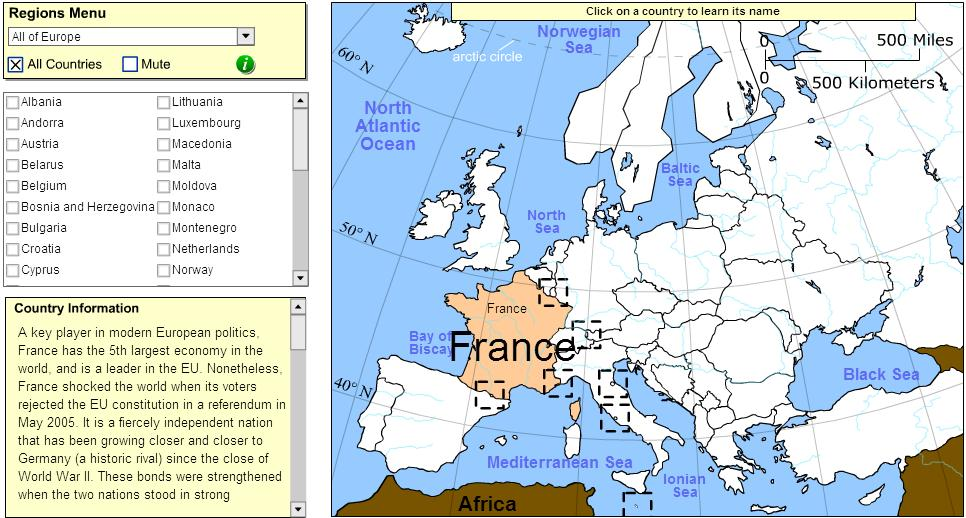 Countries of Europe. Tutorial. Sheppard Software