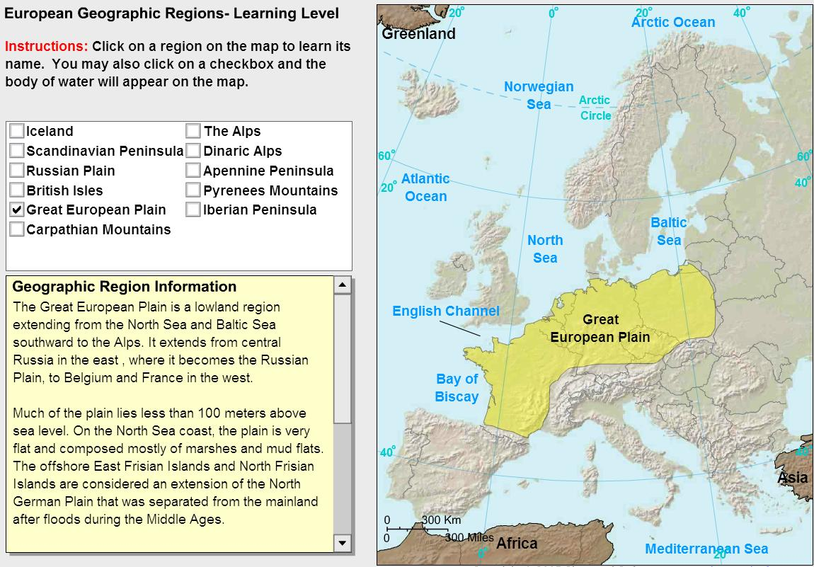 Geographic regions of Europe. Tutorial. Sheppard Software