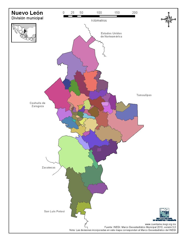 Mapa mudo de municipios de Nuevo León. INEGI de México