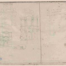 Alzados de fachadas de iglesia, portada y sepulcro