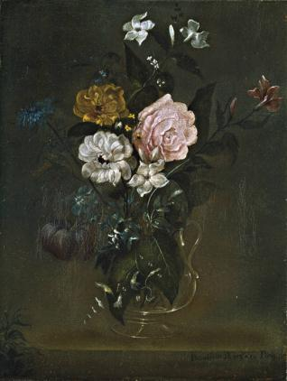 Florero de cristal con rosas y jazmines