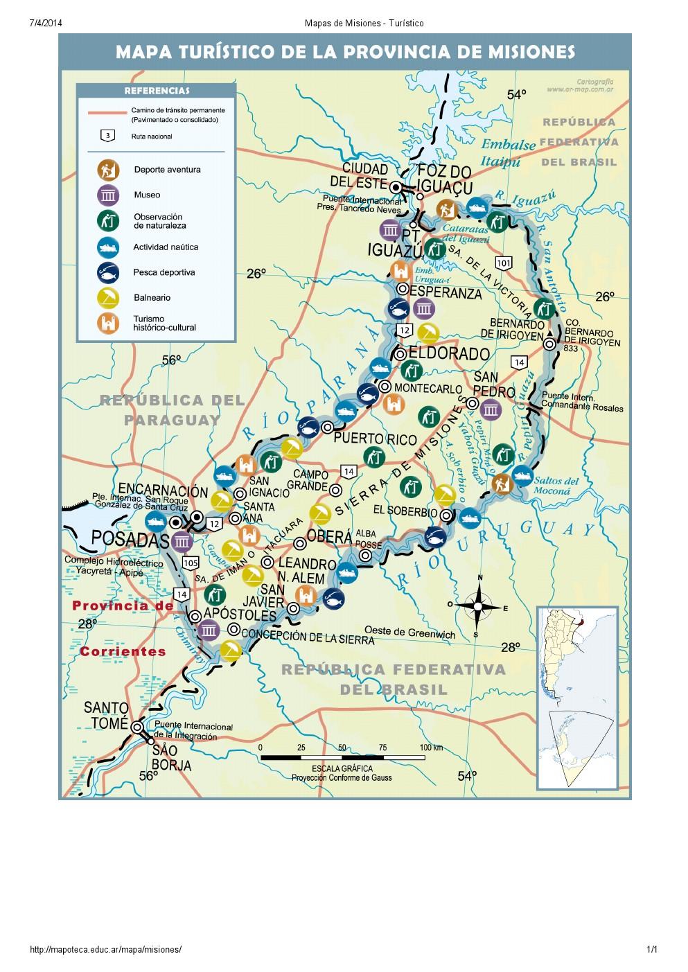Mapa turístico de Misiones. Mapoteca de Educ.ar