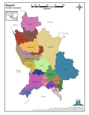 Mapa en color de los municipios de Nayarit. INEGI de México