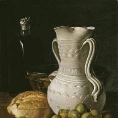 Bodegón con peritas, pan, jarra, frasco y tartera