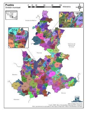 Mapa en color de los municipios de Puebla. INEGI de México