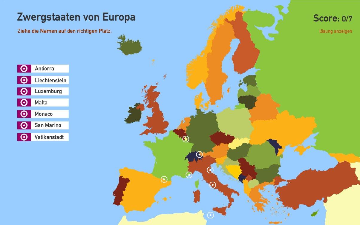 Zwergstaaten von Europa. Toporopa