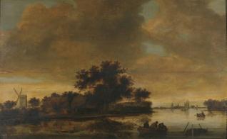 Paisaje fluvial con barcas y un molino en la orilla