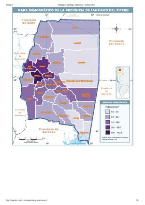 Mapa demográfico de Santiago del Estero. Mapoteca de Educ.ar