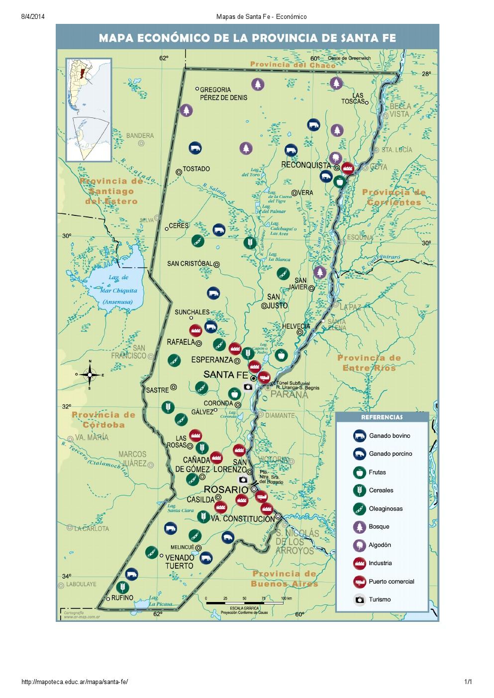 Mapa económico de Santa Fe. Mapoteca de Educ.ar