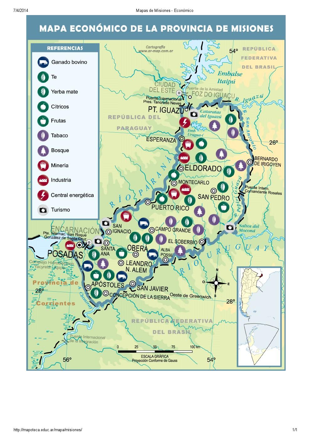 Mapa económico de Misiones. Mapoteca de Educ.ar