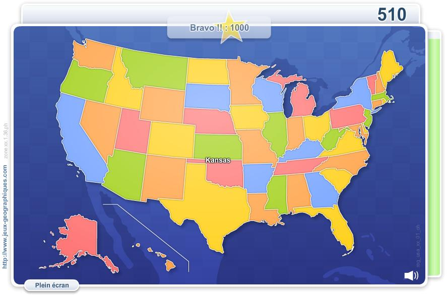 États des USA. Jeux géographiques