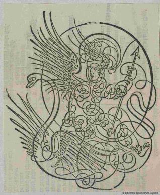 Mercurio sobre un cisne en trazos caligráficos