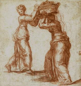 Judit con su sirvienta que lleva la cabeza de Holofernes en un cesto / Otro estudio para la sirvienta