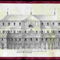 Sección transversal del proyecto para el Palacio Real nuevo de Madrid