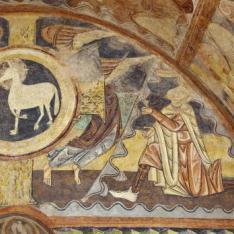 Caín presentando ofrenda. Pintura mural de la Iglesia de la Vera Cruz de Maderuelo.