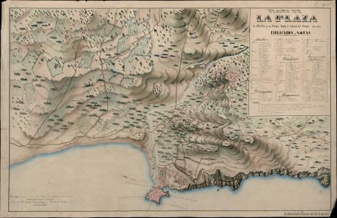 Plano de la Plaza de Melilla y su campo hasta el alcance del Cañon