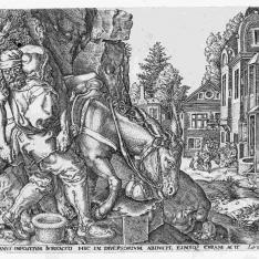 El buen samaritano monta al hombre en su mula