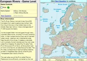 Rivers of Europe. Game. Sheppard Software