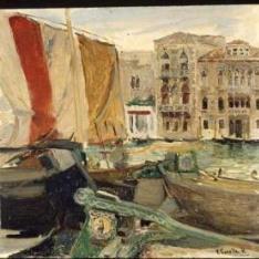 Barcas en el canal, Venecia