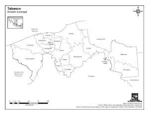 Mapa de municipios de Tabasco. INEGI de México