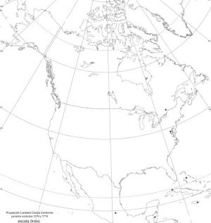 Mapa de países de América del Norte. Blographos