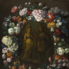 Guirnalda de flores con Mercurio y Minerva