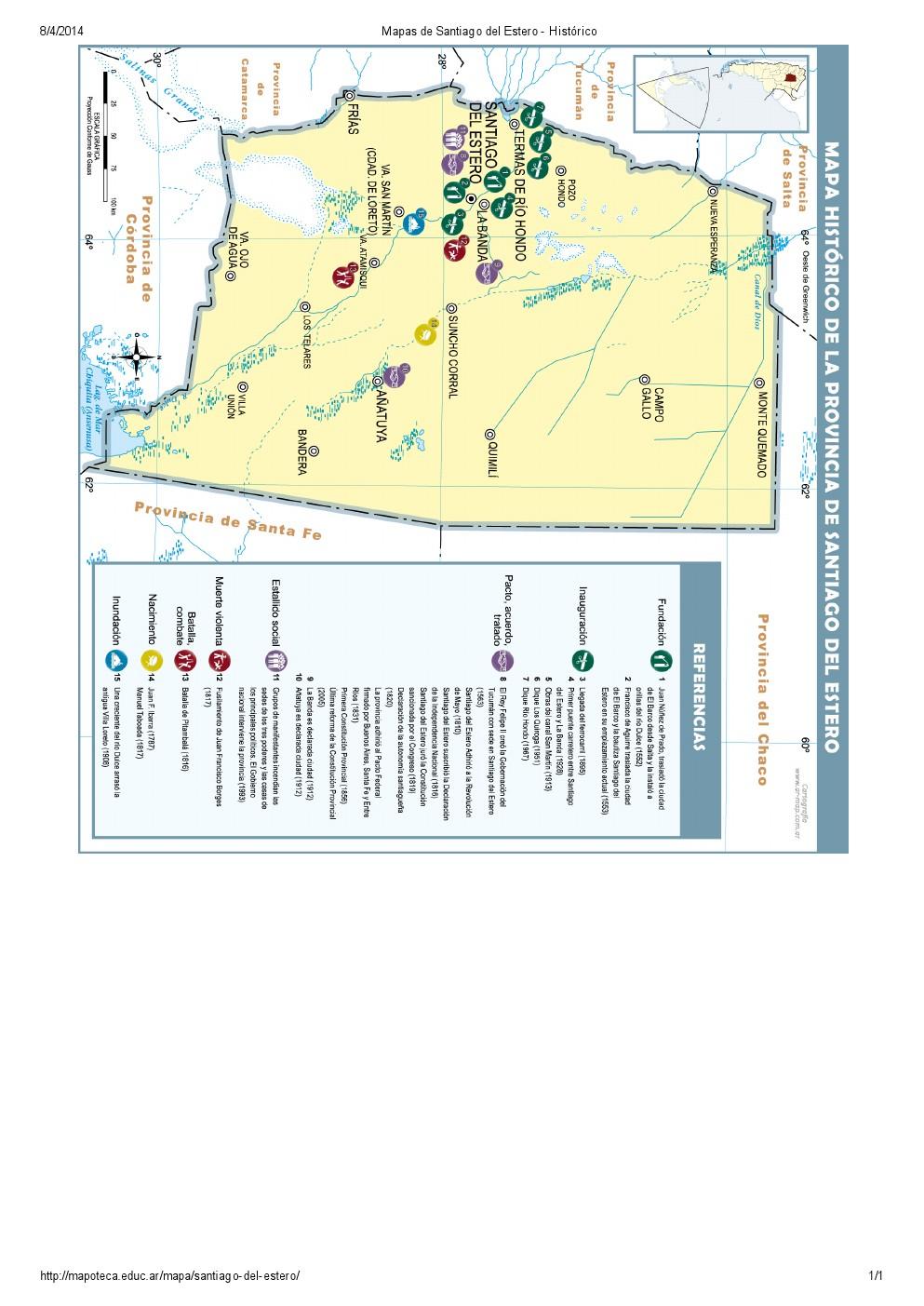 Mapa histórico de Santiago del Estero. Mapoteca de Educ.ar