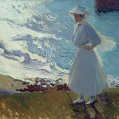 María en la Playa de Biarritz o Contraluz, Biarritz