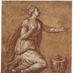 Figura femenina arrodillada, con una gran urna delante de ella [La Magdalena (¿?)]