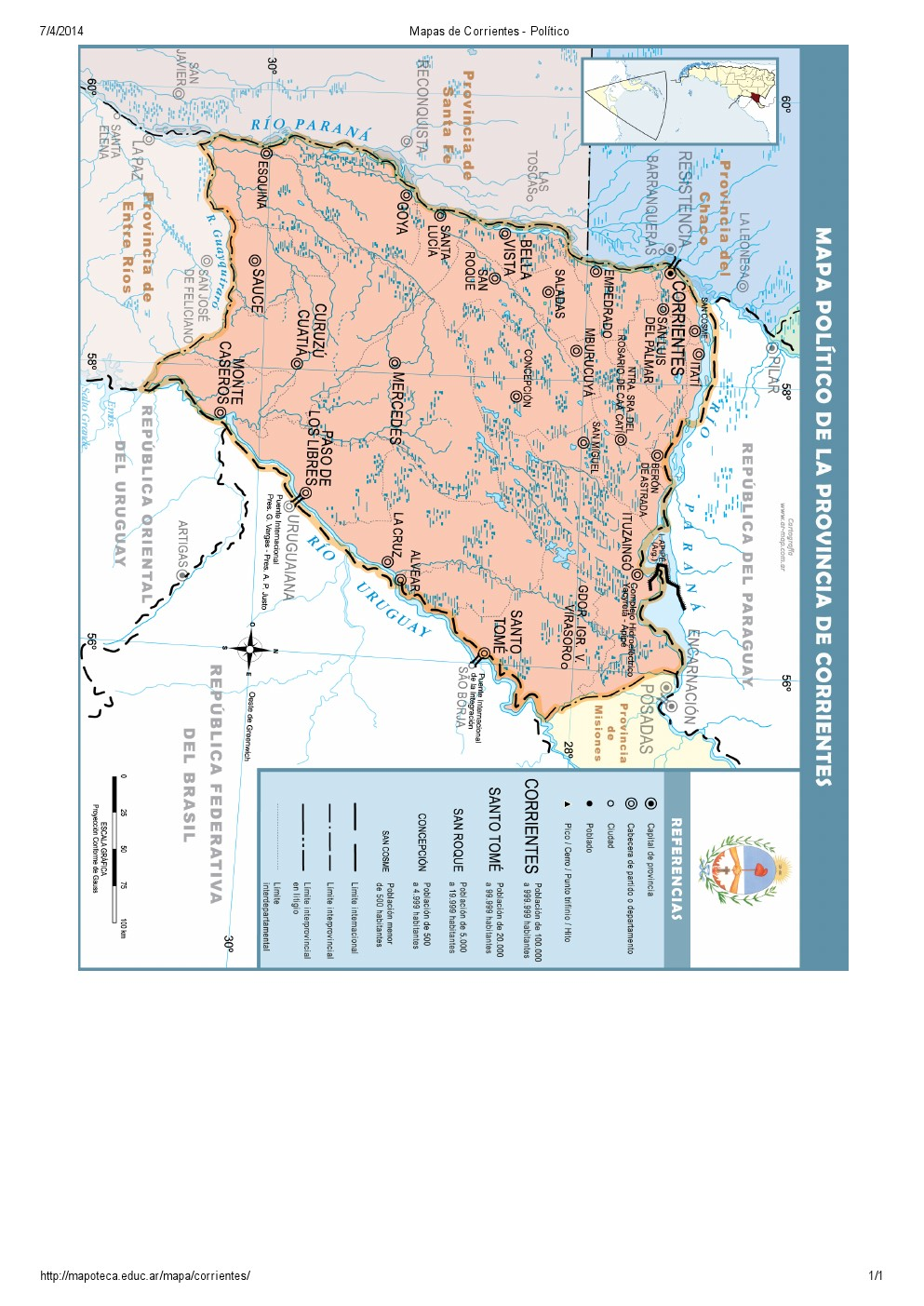 Mapa de capitales de Corrientes. Mapoteca de Educ.ar