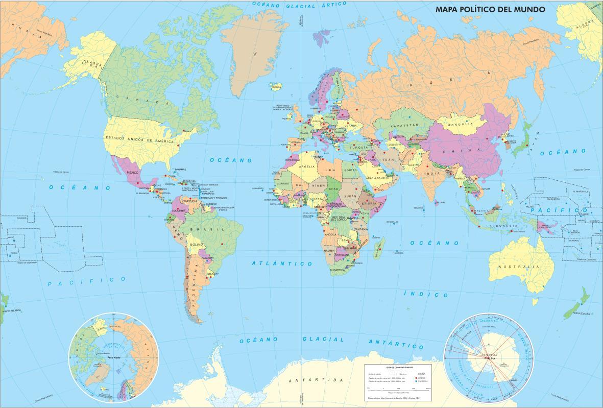 Mapa de países y capitales del Mundo. IGN