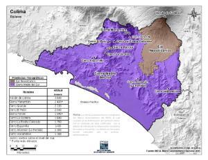 Mapa en color de montañas de Colima. INEGI de México