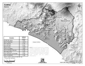 Mapa de montañas de Colima. INEGI de México