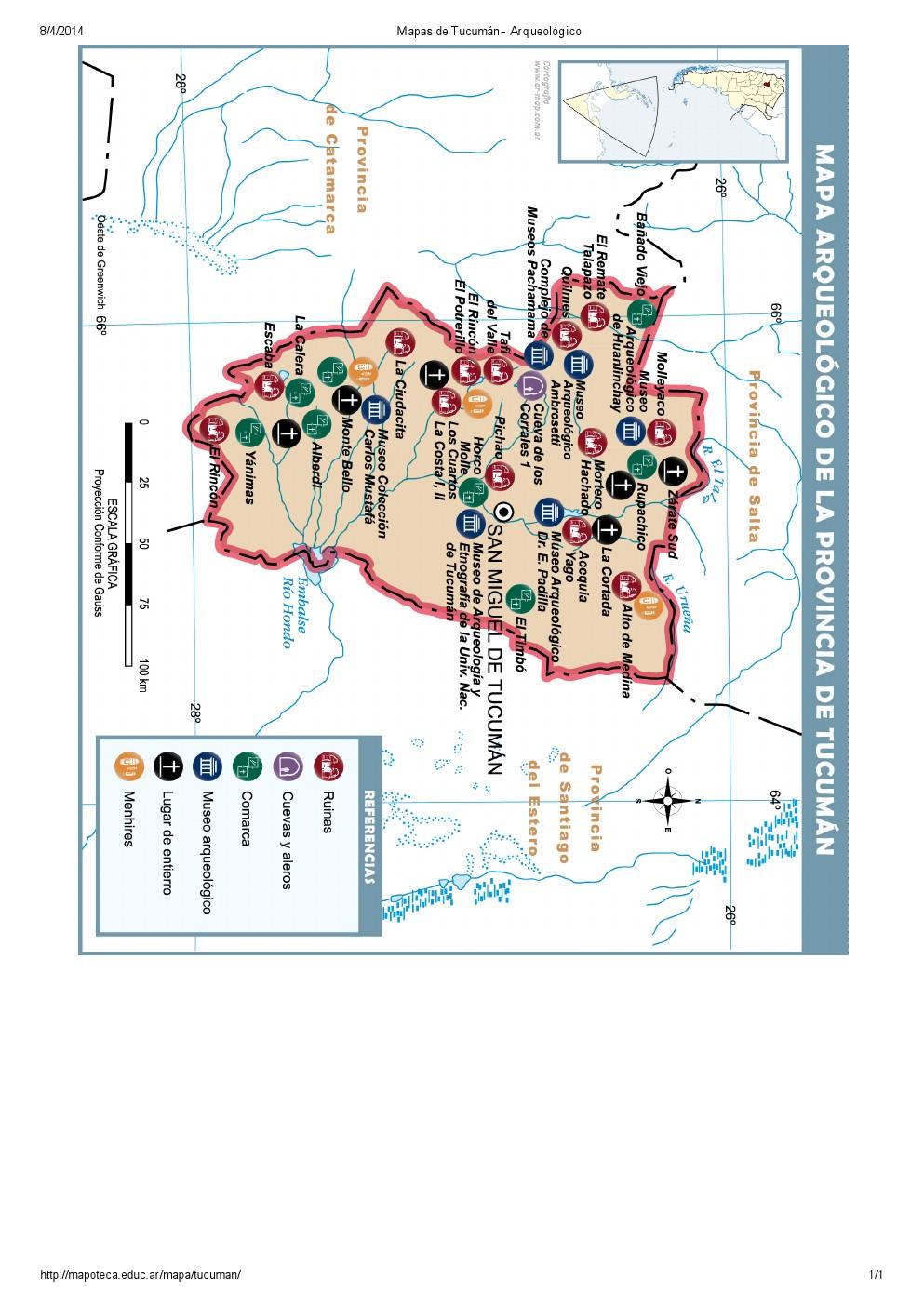 Mapa arqueológico de Tucumán. Mapoteca de Educ.ar