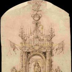 Proyecto de catafalco para las exequias de la reina María Luisa Gabriela de Saboya en Zaragoza