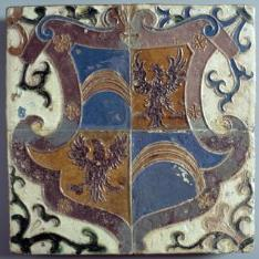 Paño de cuatro azulejos con las armas de los Villandrando