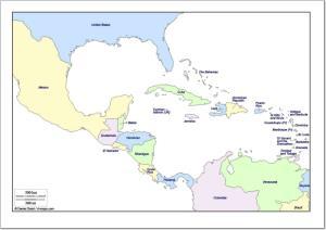 Mapa de países de América Central. d-maps