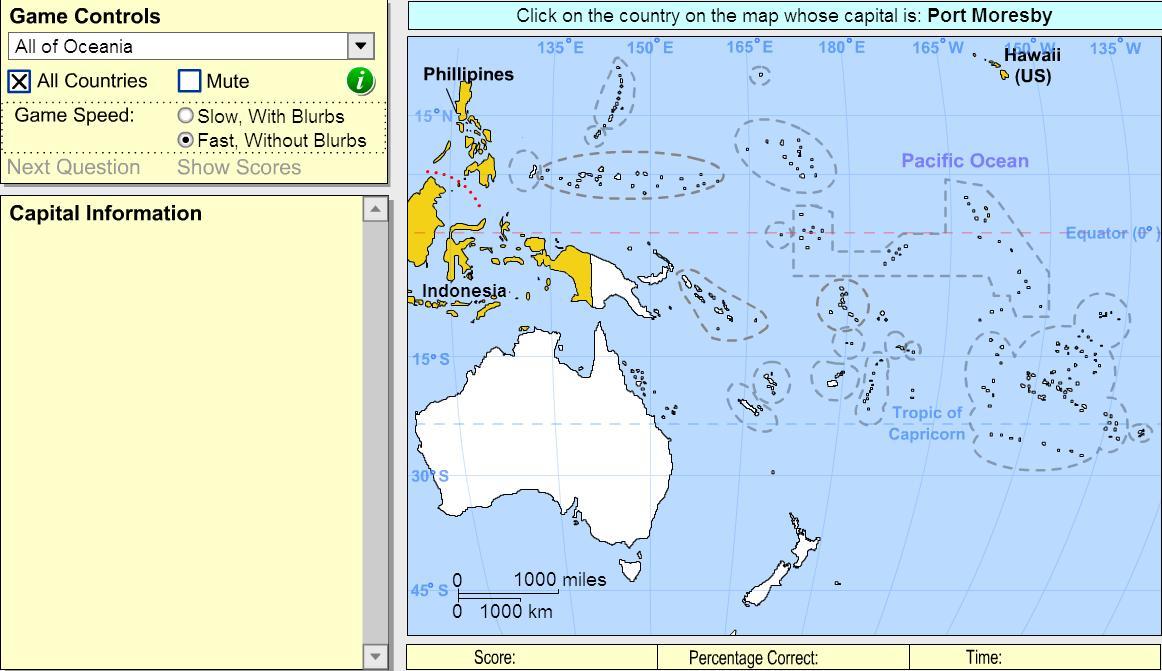 Capitals of Oceania. Intermediate. Sheppard Software