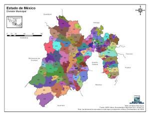 Mapa en color de los municipios del Estado de México. INEGI de México