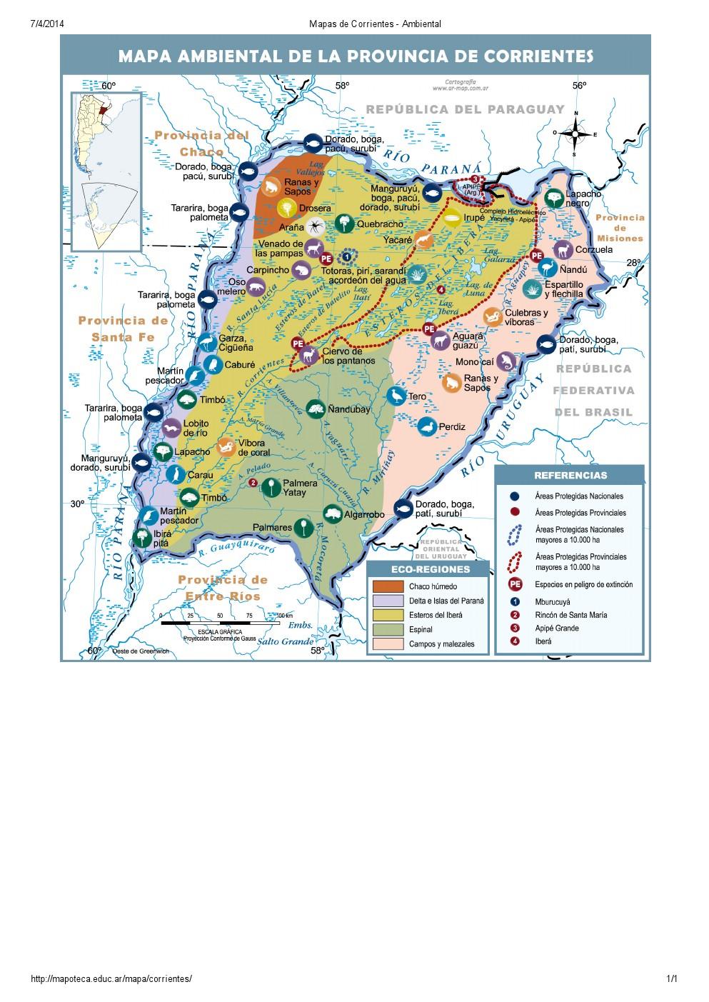 Mapa ambiental de Corrientes. Mapoteca de Educ.ar