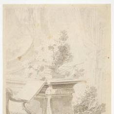 Capricho con flores en un interior [recto] / Jardín con fuente y ramo de rosas colgando de la rama de un árbol [verso]