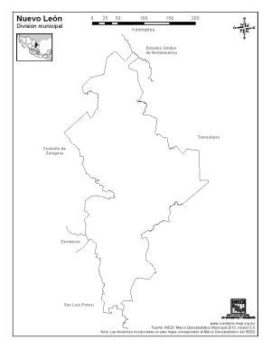 Mapa mudo de Nuevo León. INEGI de México