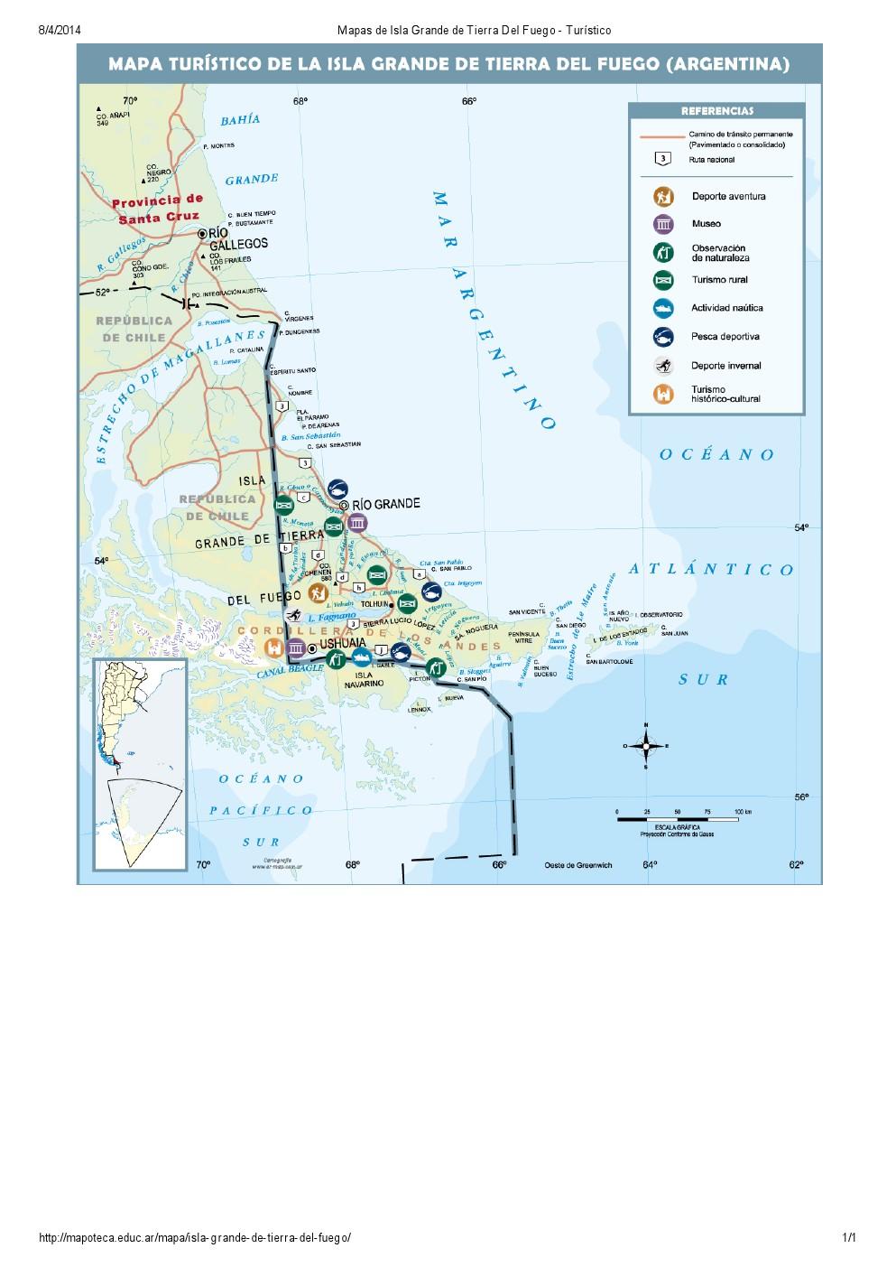 Mapa turístico de Isla Grande de Tierra del Fuego. Mapoteca de Educ.ar
