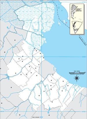Mapa mudo de los alrededores de Buenos Aires capital. IGN de Argentina