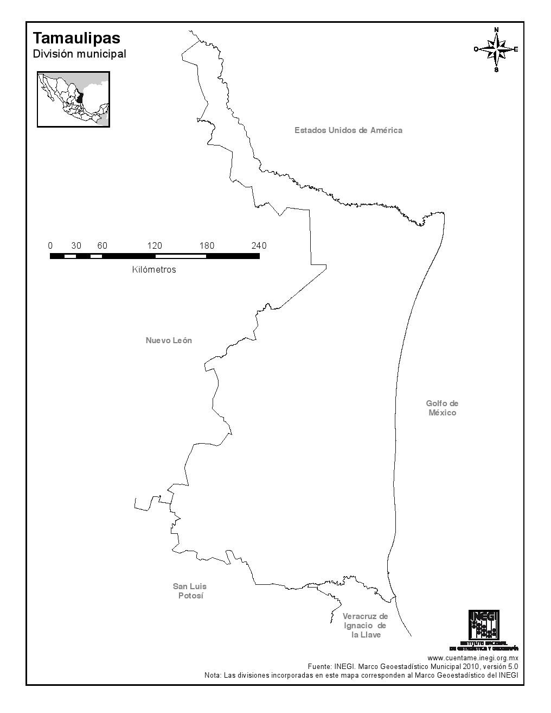 Mapa mudo de Tamaulipas. INEGI de México