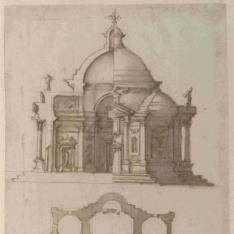 Alzado, sección y planta de una iglesia