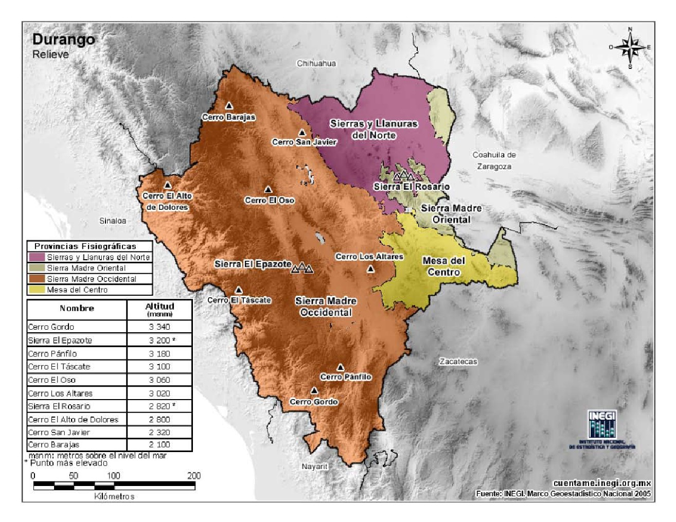 Mapa en color de montañas de Durango. INEGI de México