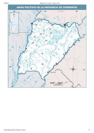 Mapa mudo de capitales de Corrientes. Mapoteca de Educ.ar