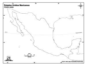 Mapa mudo de México. INEGI de México