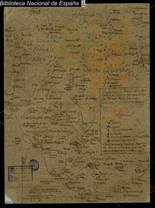 Mapa de una Porcion de la provincia de Zonora
